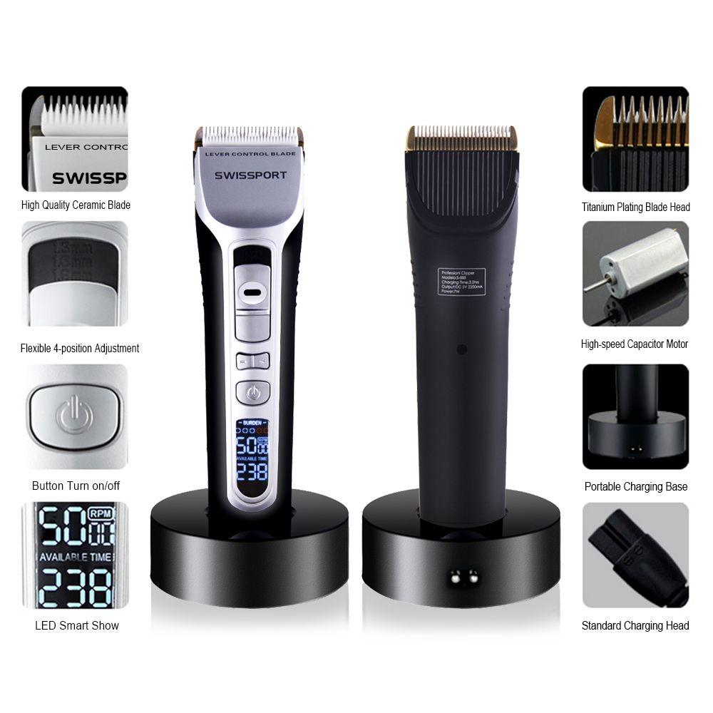 Professional Electric Hair Clipper Rechargeable Hair Trimmer Titanium Ceramic Blade LCD Display Salon Hair Cutting Machine