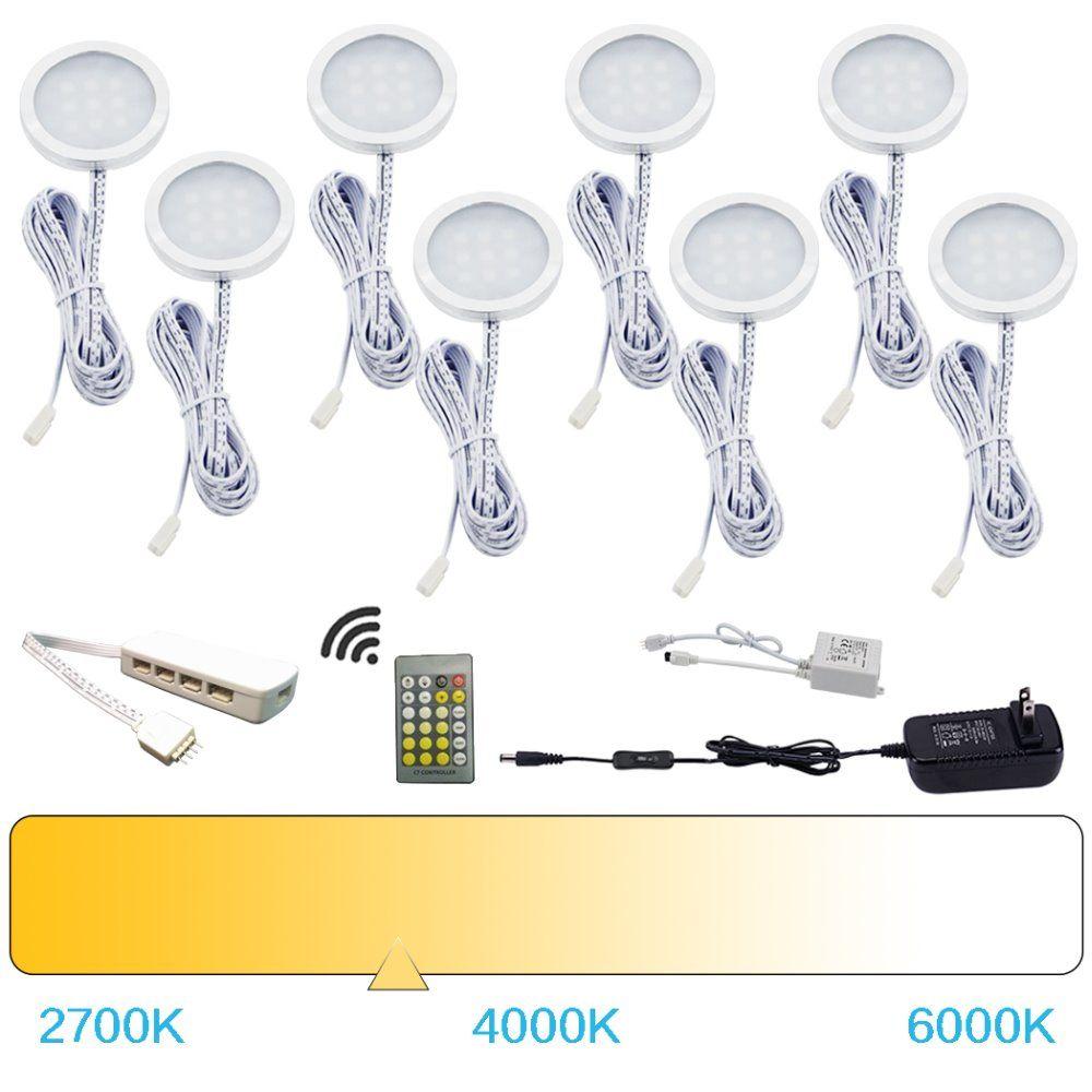 AIBOO LED sous l'armoire lumières rondelle lumières couleur température variable chaud + blanc avec télécommande IR pour comptoir de cuisine