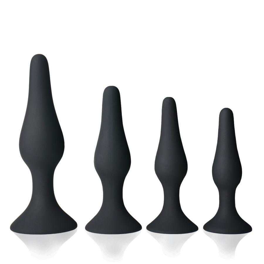 Butt Plug Anal Trainer Kit Agradable Juguetes Para Adultos Juguetes Sexuales de Silicona Médica Sensualidad Seguro Suave Hipoalergénico Negro 4 UNIDS [49