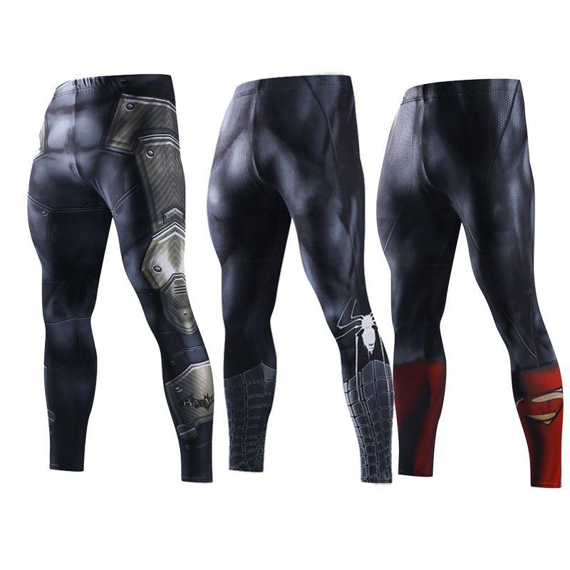 Для мужчин узкие Треники сжатия Брюки для девочек Для мужчин модные леггинсы Jogger Для мужчин 3D Фитнес Бодибилдинг Брюки для девочек Супермен...