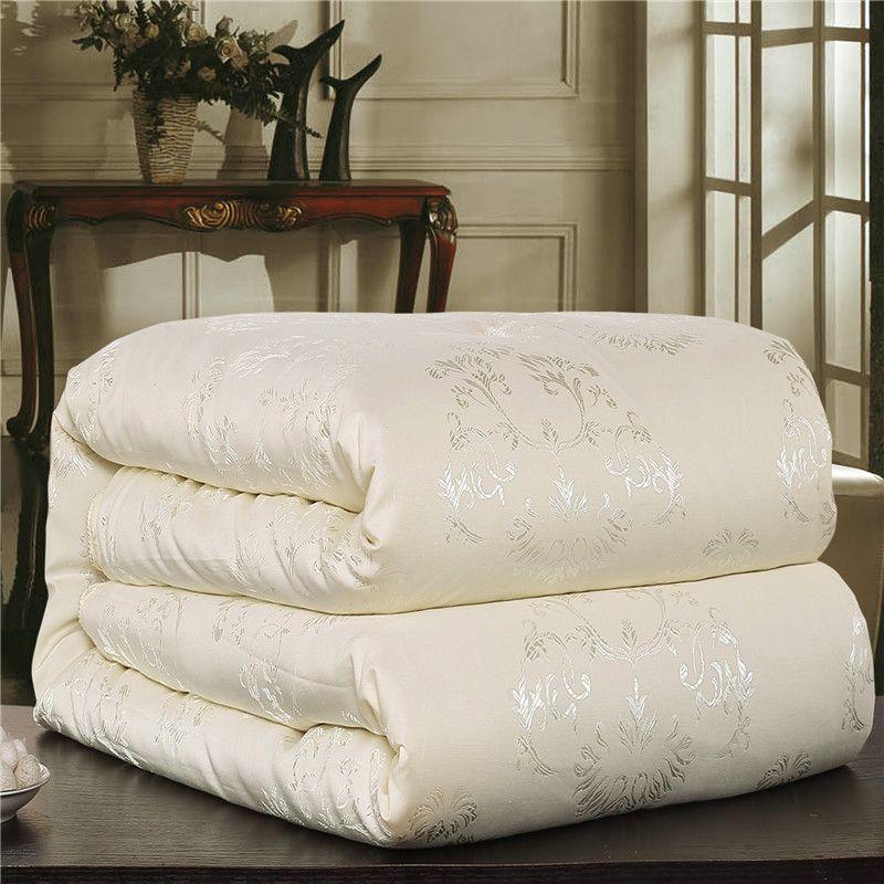 Hohe Qualität 100% Echte Seide Quilt Baumwolle Jacquard Bettbezug reine und natürliche lange strand seide Twin Königin king-size-freies Schiff