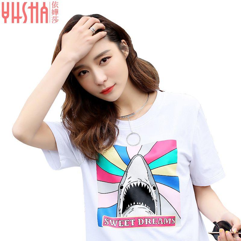 Модные Лидер продаж для девочек Сексуальная футболка хлопок Большие размеры женская рубашка с круглым вырезом с принтом белая футболка с к...