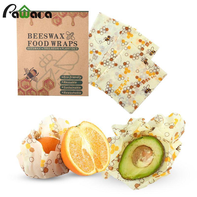 3 pièces réutilisable Silicone Wrap joint alimentaire frais garder Wrap couvercle couverture Stretch vide alimentaire Wrap cire d'abeille tissu scellant outils de cuisine