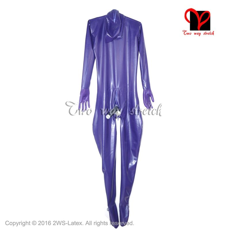 Sexy Full Body Latex Suit feet Latex Catsuit men anus mouth condom Penis Sheath Rubber catsuit hood overall socks Mask LT-080