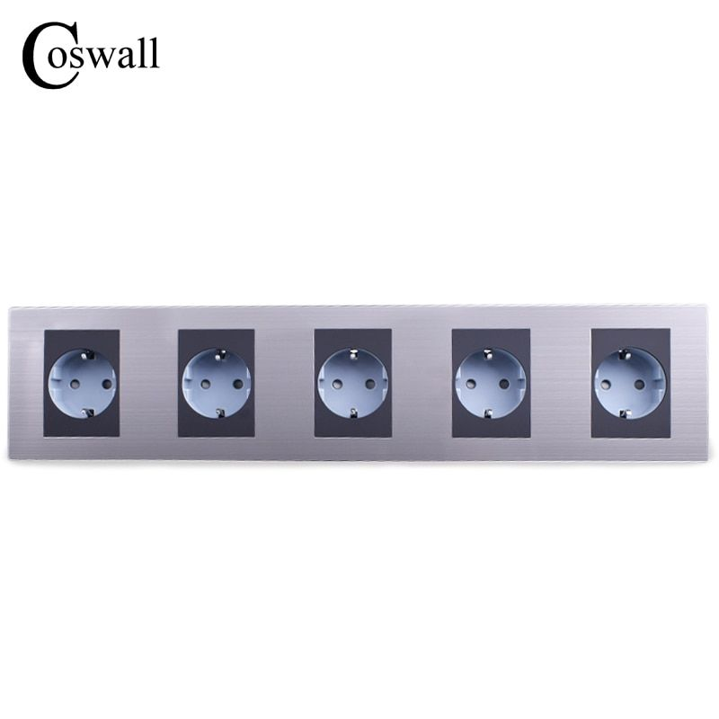 COSWALL 16A EU Standard Quintuple Outlet Luxury Wall 5 Way Power Socket Stainless Steel Panel Electrical Plug AC 110~250V