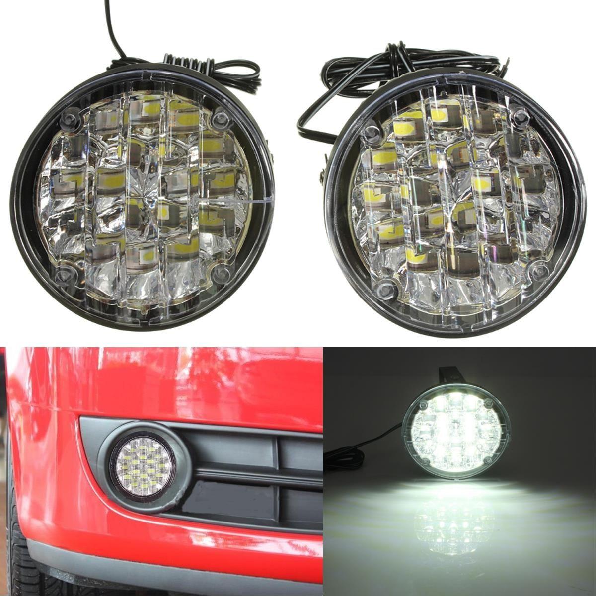 New 2Pcs 12V 18 LED Round Car Driving Daytime Running Light DRL Fog Lamp Bright White Car LED Offroad Work Light