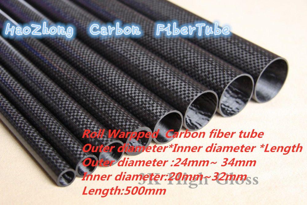 500mm 3k Tube de Fiber de carbone 24mm 25mm 26mm 27mm 28mm 29 30mm 32mm 34mm (rouleau enveloppé) léger, haute résistance