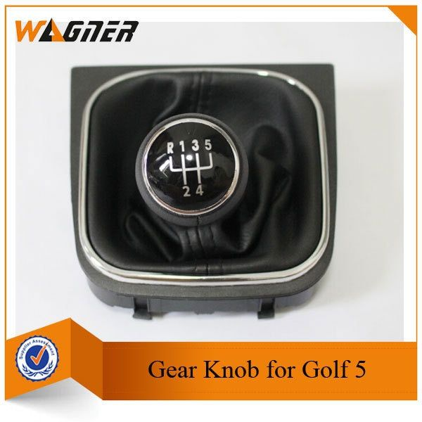 CNWAGNER Black Stitching Silver and Black Cap 5 Gear or 6 Gear Car Gear Leather handle cover for VW Golf 5 Golf 6 MK5 MK6