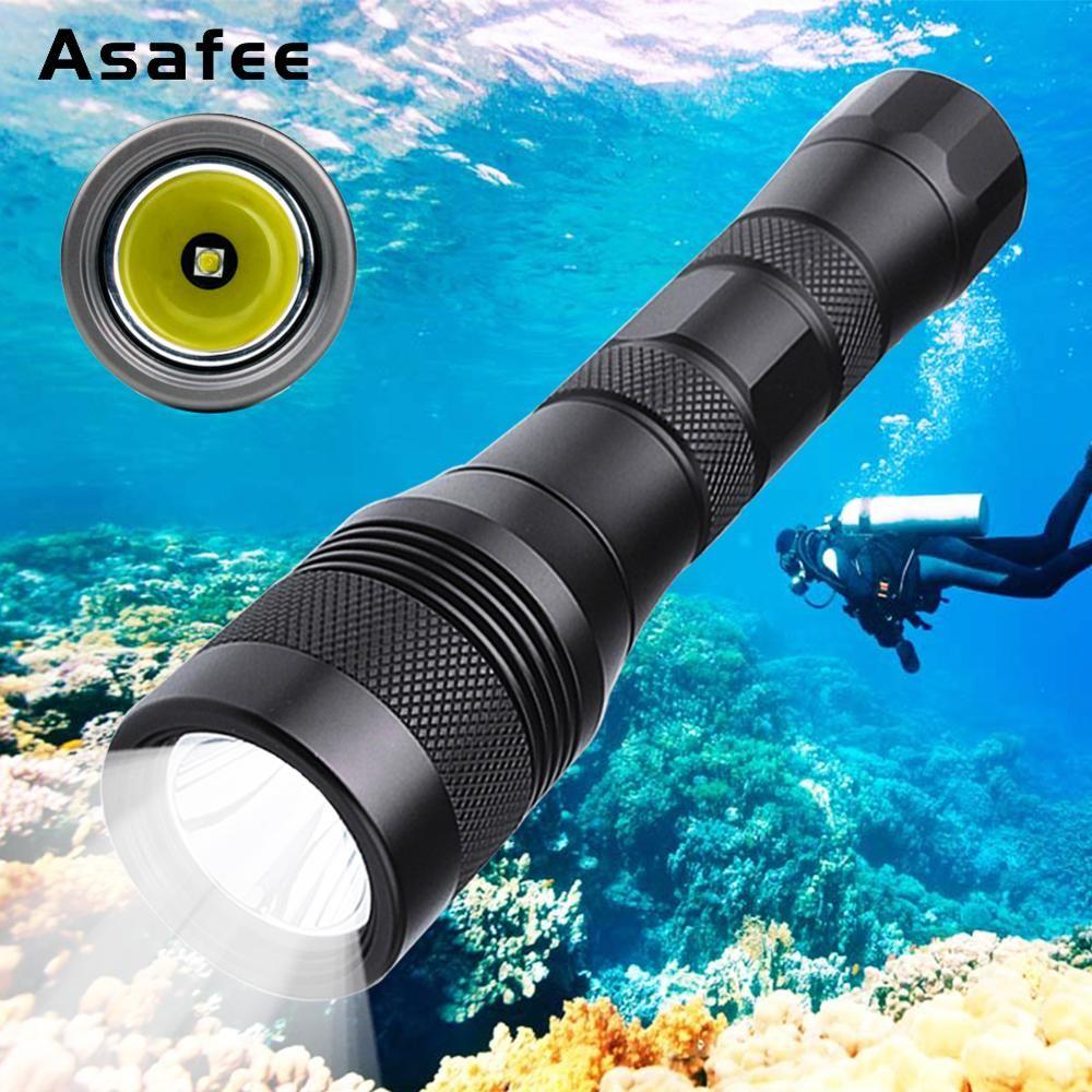 Asafee DIV01 LED lampe de poche de plongée sous-marine XM L2 lampe torche de plongée sous-marine lampe de plongée étanche plongée sous-marine torche 18650 26650