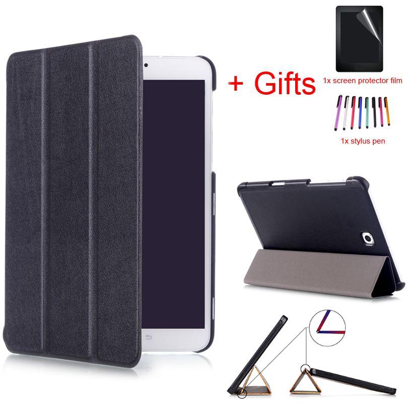 Intelligent Aimant PU Étui En Cuir Pour Samsung Galaxy Tab S2 8.0 T710 T715 8 pouces Réveil/Sommeil Support housse de protection + Film + Stylet