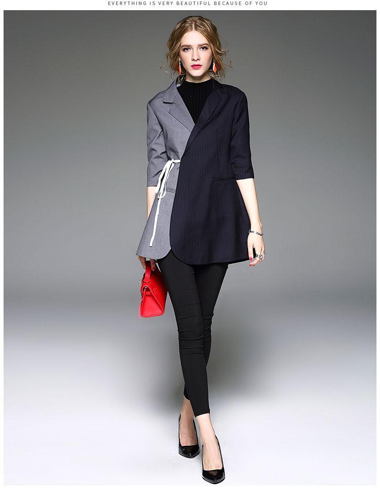 LANMREM 2018 New Fall Fashion Women Sleeve Asymmetrical Stitching Lacing Long Slim Sleeve Jacket Promotion 47632