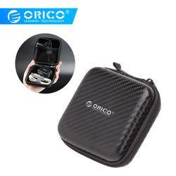 ORICO Kopfhörer Fall Tasche Tragbare Kopfhörer Ohrhörer Hard Box Lagerung für Speicher Karte USB Kabel Organizer Mini Kopfhörer Tasche- schwarz