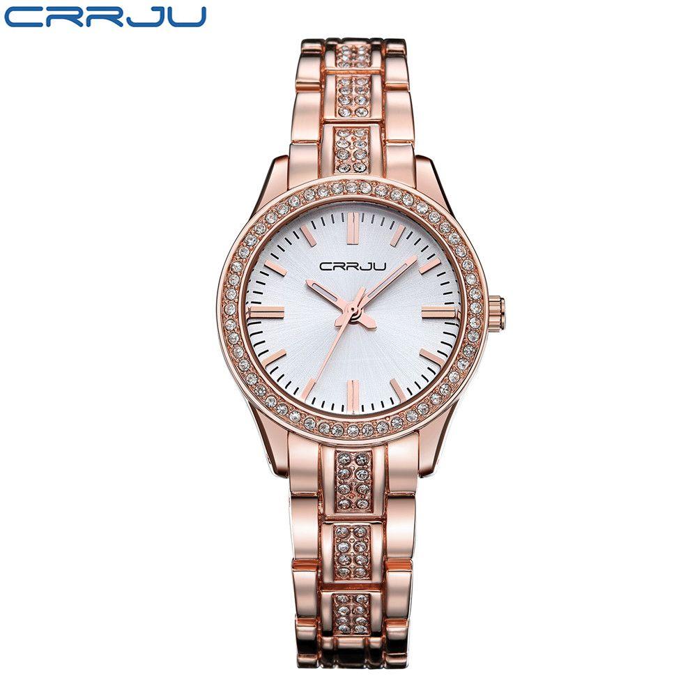 CRRJU décontracté Bracelet or Montre femmes strass montres femmes élégant Quartz Montre-Bracelet femmes Relojes Mujer Montre Femme