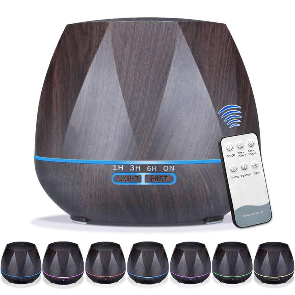 550ml Wood Grain Remote Mist Humidifier Ultrasonic Aroma Essential Oil Diffuser for Home Office Bedroom Living Room Yoga Spa