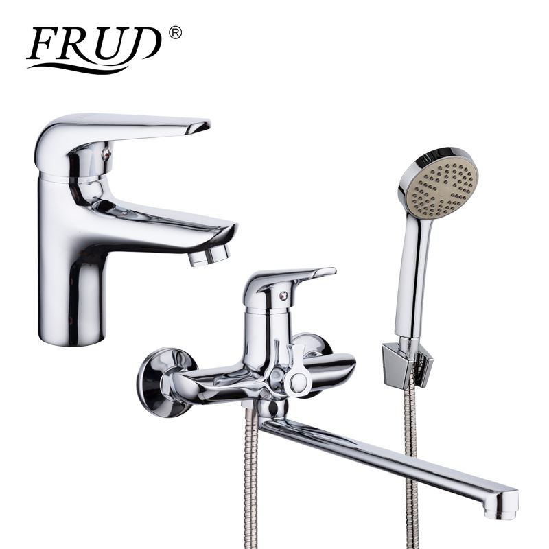 FRUD Chrome Plating Basin Faucet Bathroom Mixer Zinc Alloy Outlet Pipe Shower Faucet Bathtub Shower Head Cold and Hot Tap Home