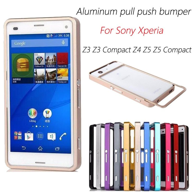 For Sony Z3 Mini Z3 Compact Cases Hybrid Aluminum Metal Frame Alloy Bumper For Sony Xperia Z3 Compact Case Pull Push Bumper M55W