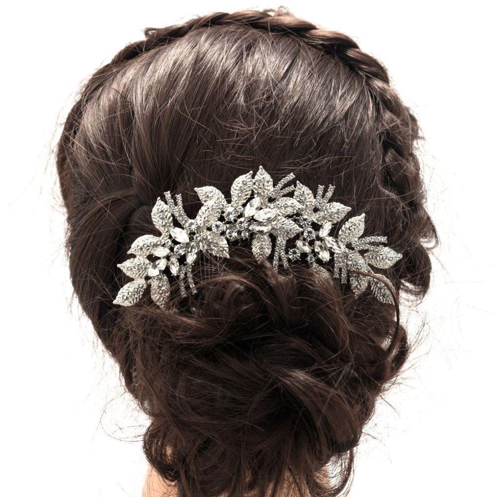 2017 Nouvelle Mode Feuilles Fleur De Cheveux De Mariage Peigne Clair Strass En Cristal De Cheveux De Mariée Accessoires Femmes Bijoux XBY688