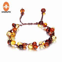 HAOHUPO Bébé Adulte Ambre Bracelet Cheville Meilleur Naturel Bijoux Cadeaux pour les Femmes Dames Filles Main Multi Couleur Strand Bijoux