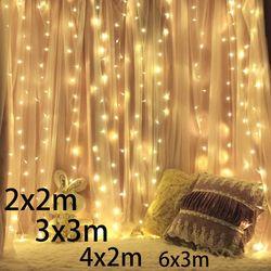 3x2/4x2/6x3m 300 LED Icicle fairy String Lights Christmas led Wedding Party Fairy Lights garland Outdoor Curtain Garden Decor