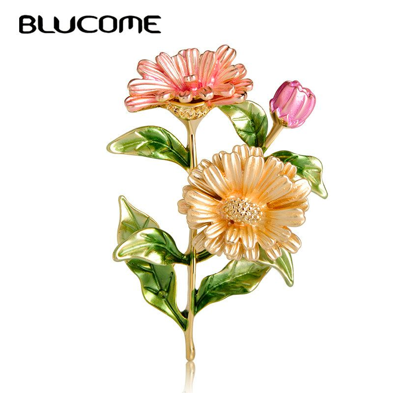 Blucome Beautiful Pink Chrysanthemum Flower Brooches Pins Enamel Gold Color Corsages Pin Party Dress Suit Clips Ornament Jewelry