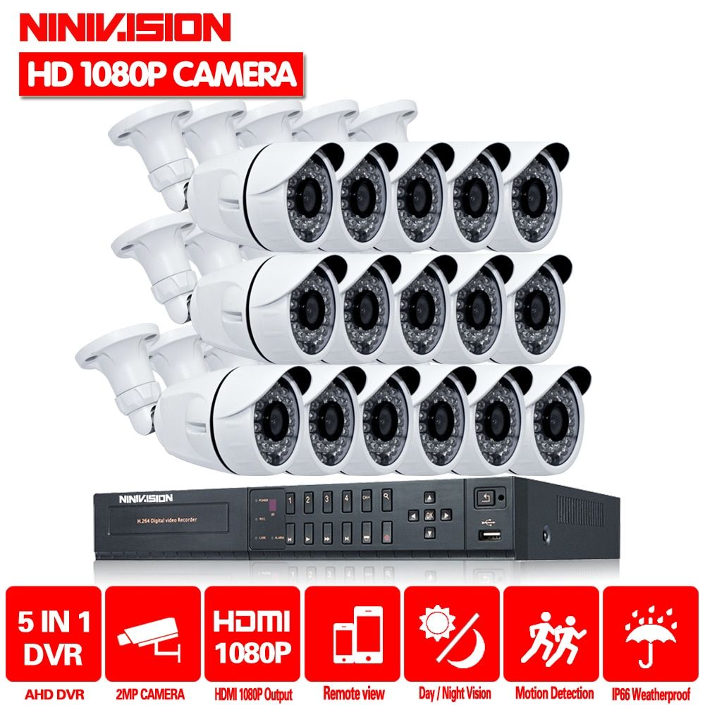 NINIVISION Hot 16CH 1080P HDMI AHD DVR Video CCTV System 16Pcs 2MP 3000TVL IR outdoor Security Camera Surveillance System