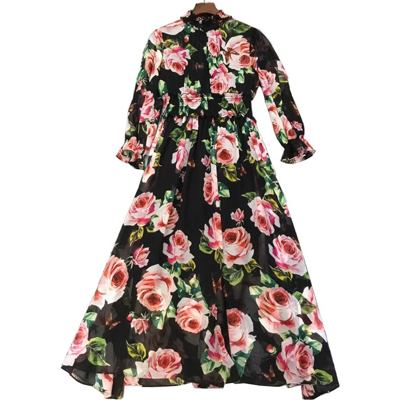 fashion long dress for ladies summer 2018 long sleeve dress women floral print dress
