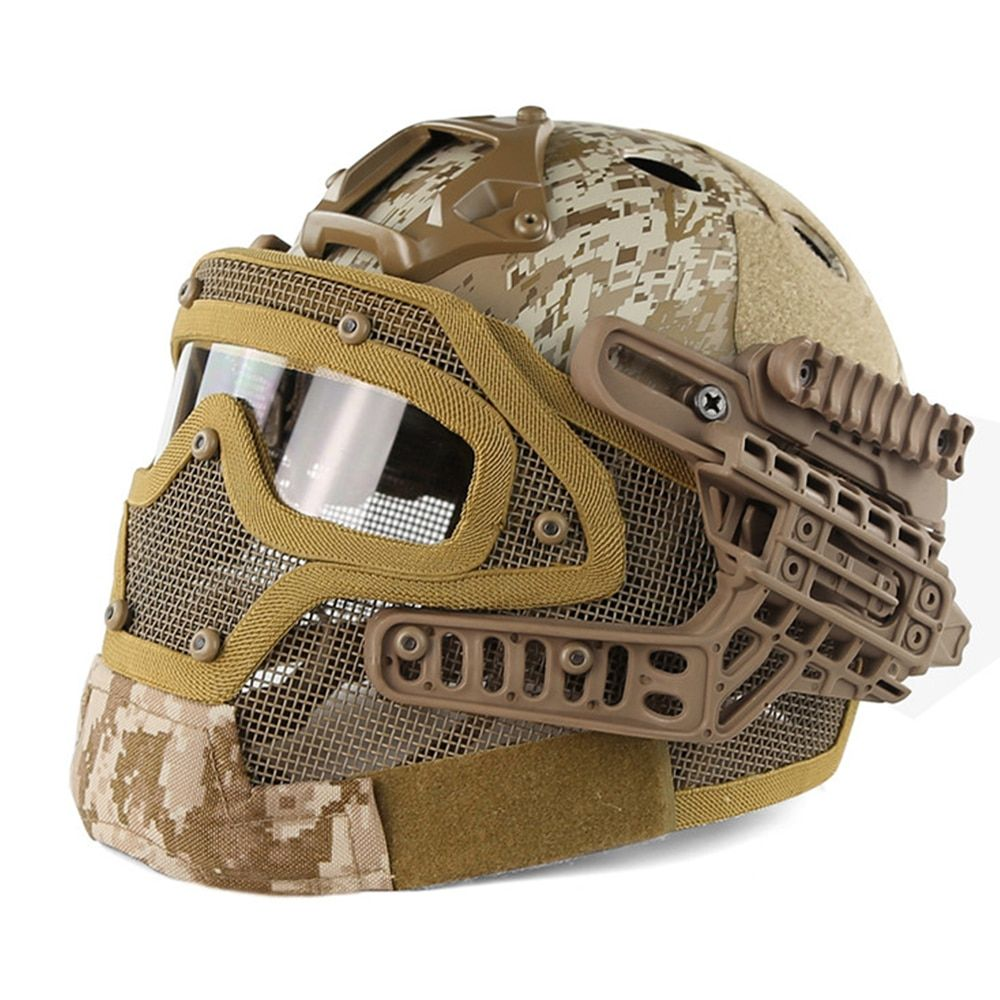 Emerson G4 System Tactical PJ Helmet Fullface With Protective Goggle and Mesh Face Mask Airsoft Helmets for Military War Game