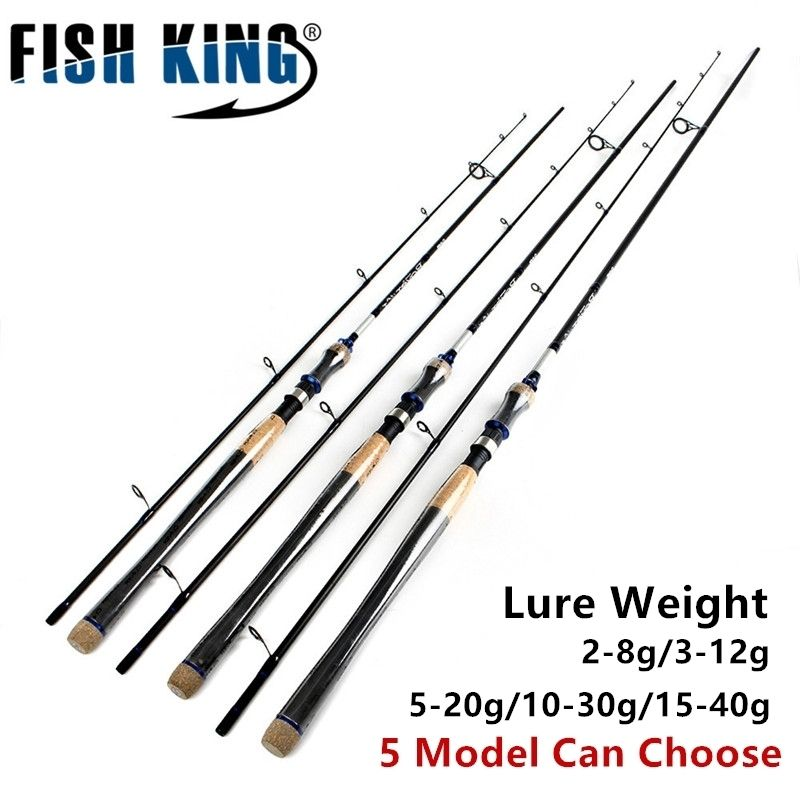 FISH KING 5 Colors Lure <font><b>Weight</b></font> 2-40g Ultra Light Spinning Fishing Rod 2.7m 2.4m 2 Section Carbon Fiber Fishing Spinning Rod Pole