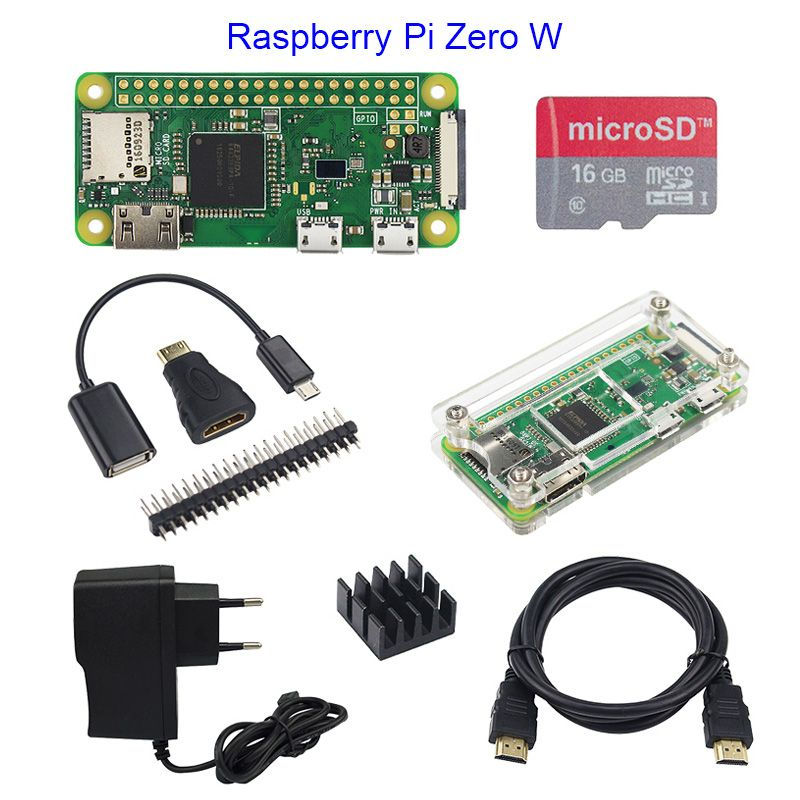 Hot Sale Raspberry Pi <font><b>Zero</b></font> 1.3 or Raspberry Pi <font><b>Zero</b></font> W Starter Kit+Acrylic Case+GPIO Header+16G SD Card+Power Adapter+HDMI Cable