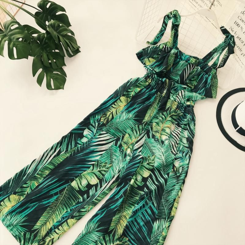 Vintacy Strap tropical jumpsuit romper women Smocking button wide leg summer jumpsuit 2018 Casual print overall jumpsuit macacao