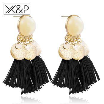 X & P Mode Charme Ethnique Gland Bohème Balancent Boucles D'oreilles pour les Femmes Fille Vintage Fringe Pierres Longue Baisse Boucle D'oreille Bijoux cadeau