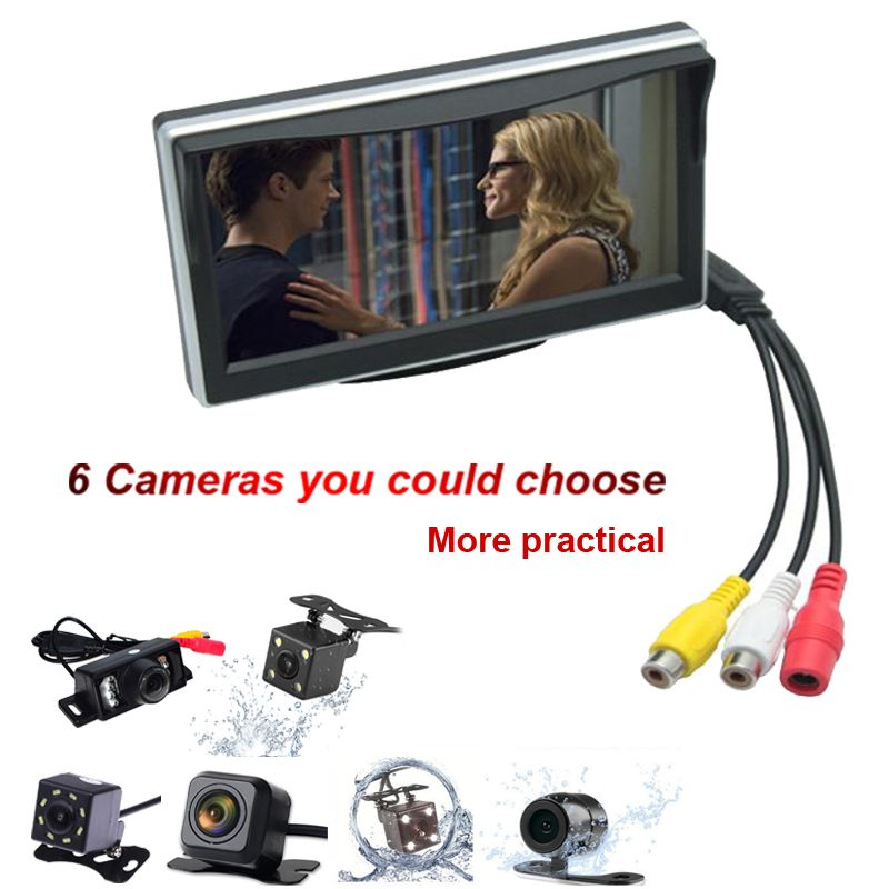 5inch TFT LCD Display Digital Display Windshield LCD Car Monitor For Reversing Backup Camera+HD Parking Camera 2.0