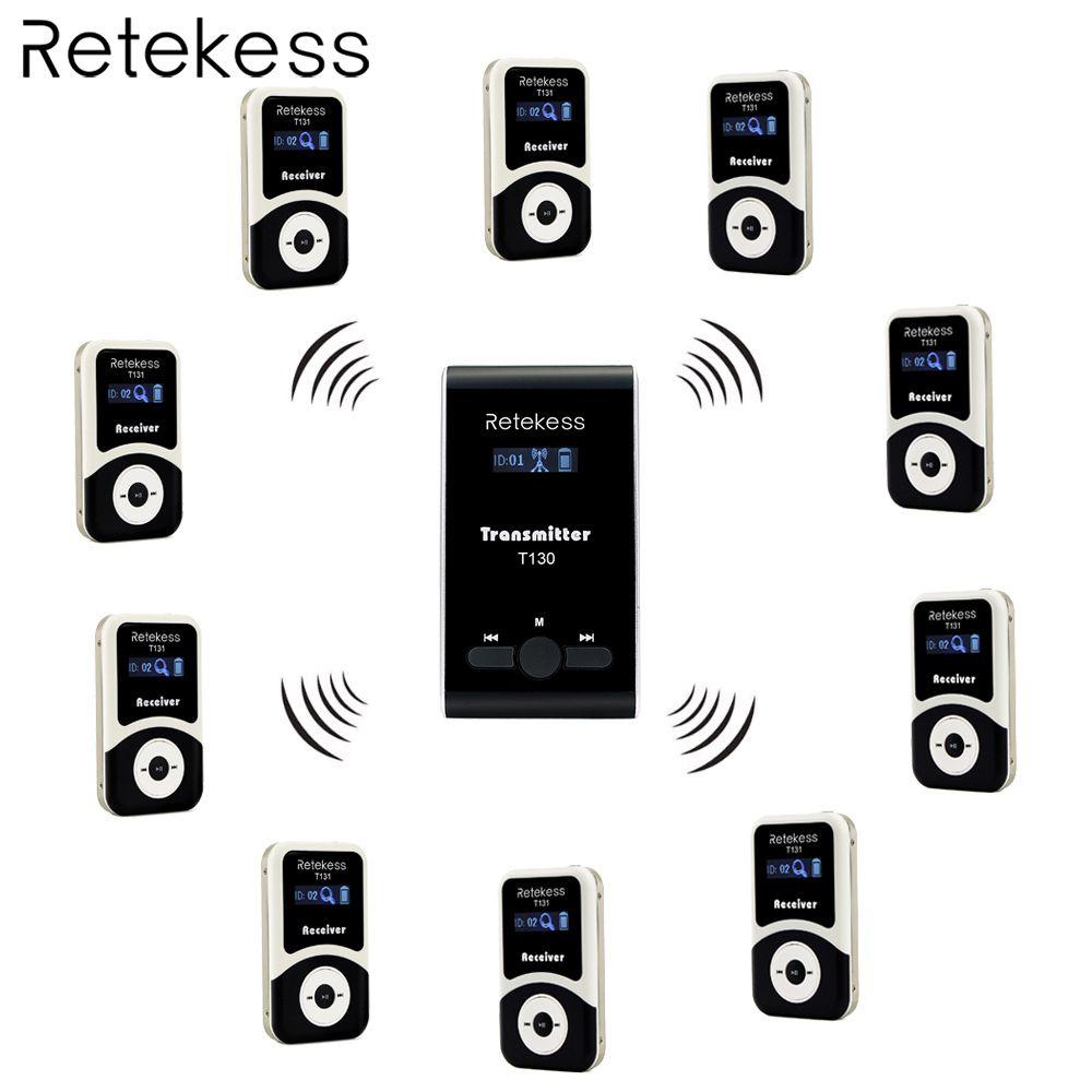 Retekess Wireless Tour Guide System 1 Sender + 10 Empfänger T131 + Mic für Tour Führung Gleichzeitige Übersetzung Interpretation