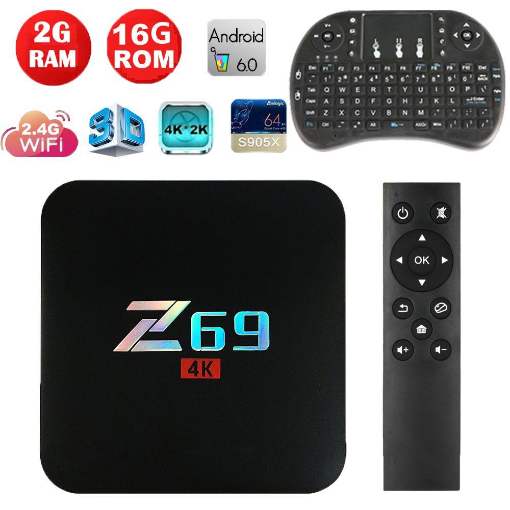 2017 Z69 Android 7.1 Smart TV Box Amlogic S905X Penta-Core 2GB 16GB BT 4.0 Wifi 2.4G Set Top Box 4 K Ultra HD Smart Media Player
