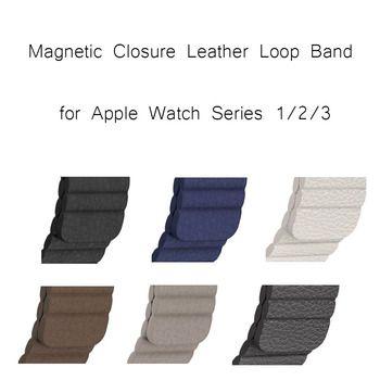 7 цветов Магнитная Синтетическое закрытие волос браслет ремешок для Apple Watch Series 1 2 3 Пояса из натуральной кожи петля ремешок 42 мм 38 мм браслет