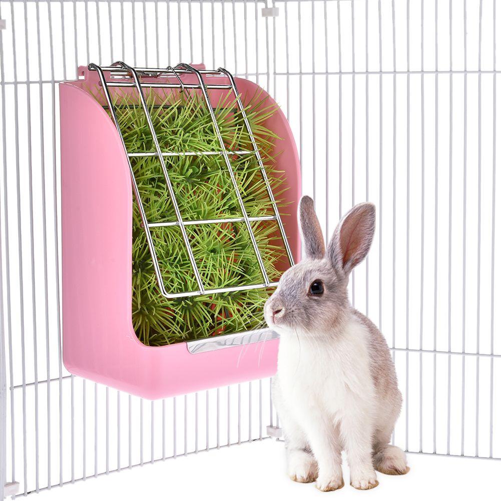 Nouveau Lapin Herbe Ressort de Chargeur Cadre De Paille Herbe Panier Petit Animal Guinée Porc Totoro Cage Accessoires Fixe Alimentaire Contenant Bol