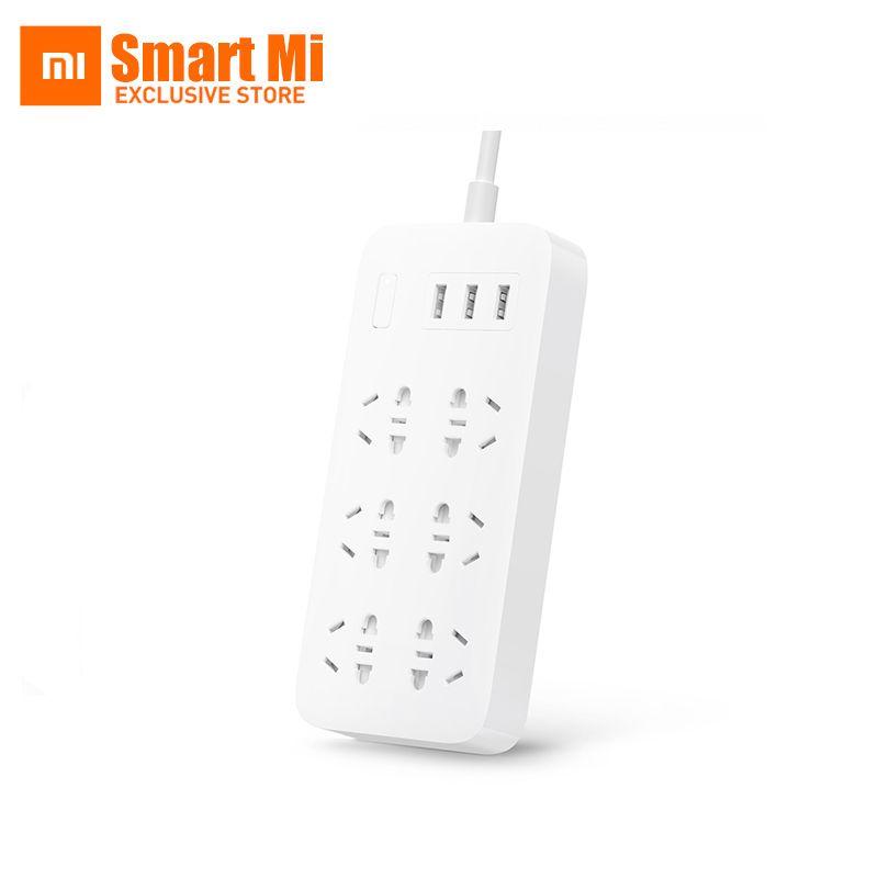 En Stock Xiaomi 6 Sockets Avec 3 USB Rapide De Charge 2.1A USB Bande de Puissance intelligente Plug Power Chargeur Portable US UK UE UA Adaptateur