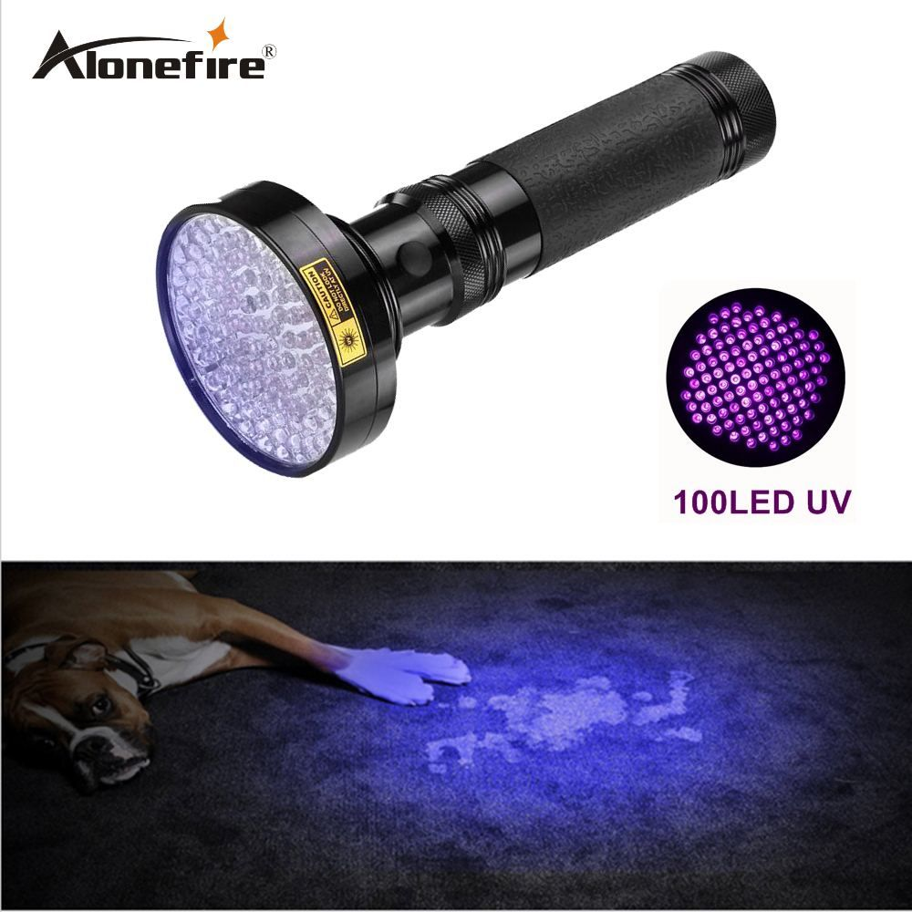 ALONEFIRE 18W Aluminum Shell Ultraviolet light For 6xAA Anti-fake UV 100 LED 100LED UV Flashlight Money Detector