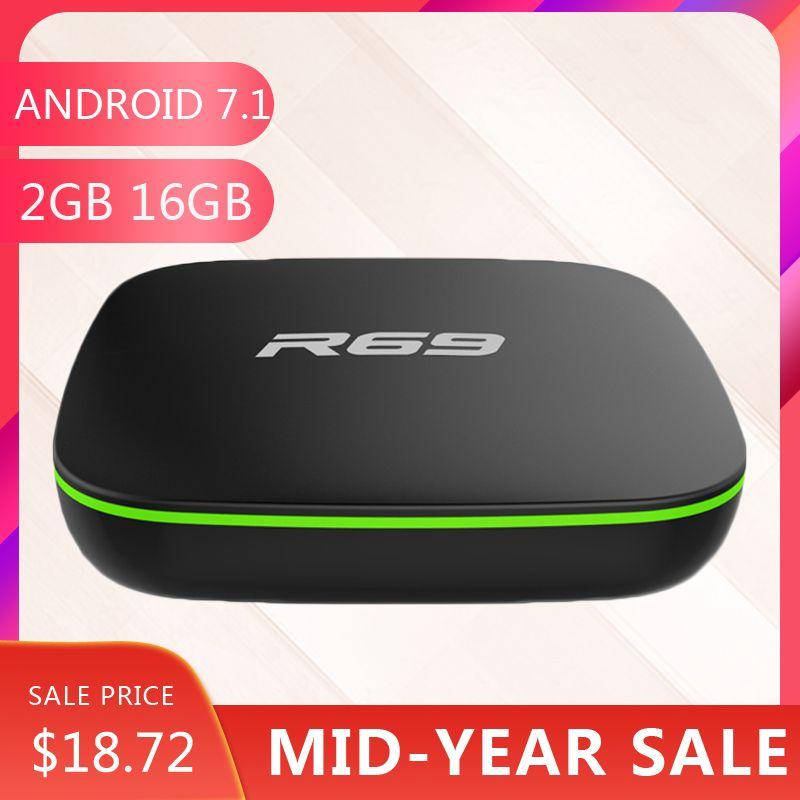 Wechip R69 Smart Android 7.1 TV Box 1 GB 8 GB Allwinner H3 Quad-Core 2.4G Wifi décodeur 1080 P HD Support 3D film lecteur multimédia