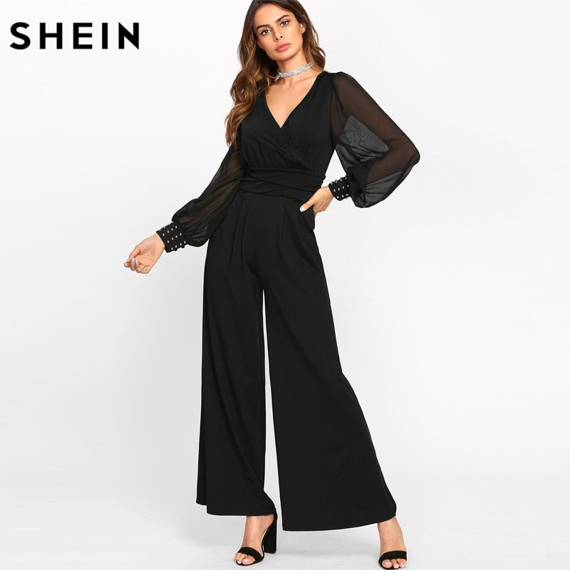 SHEIN Black Sexy Jumpsuits for Women Sheer Bishop Sleeve With Bleading Surplice Wrap Palazzo Mid Waist Jumpsuit