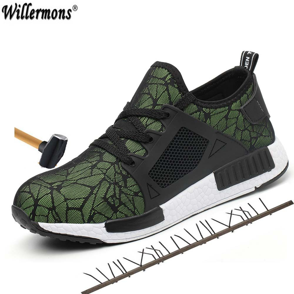 Mode hommes grande taille en plein air en acier orteil de protection chaussures de sécurité hommes respirant en acier mi semelle anti-crevaison bottes de travail chaussures