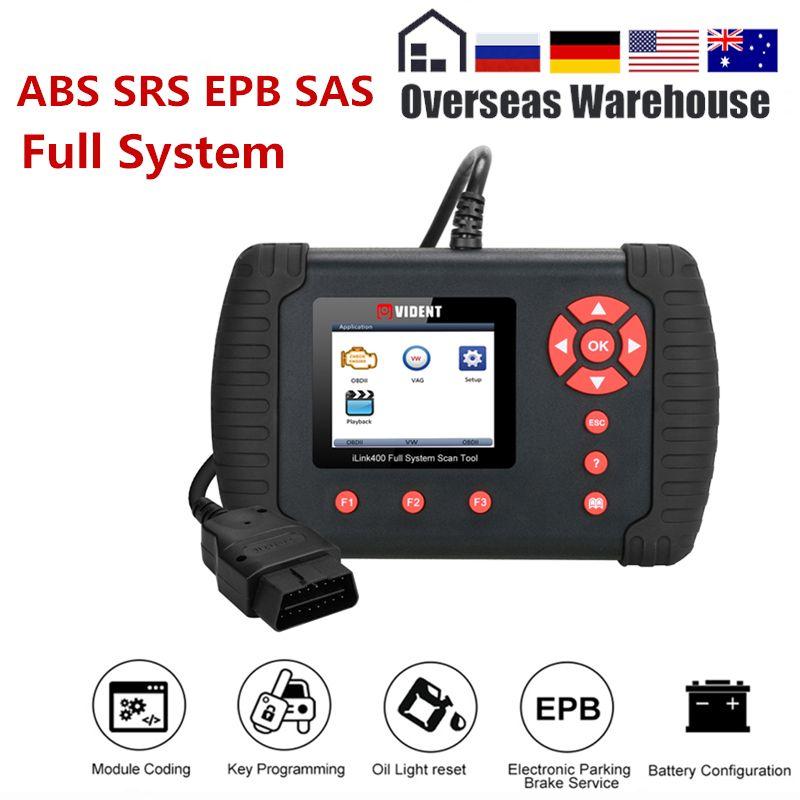 Vident iLink400 Full System-Diagnose-Tool Scanner 12 v OBDII ABS SRS EPB Übertragung DPF Reset TPS Besser Als NT510 update