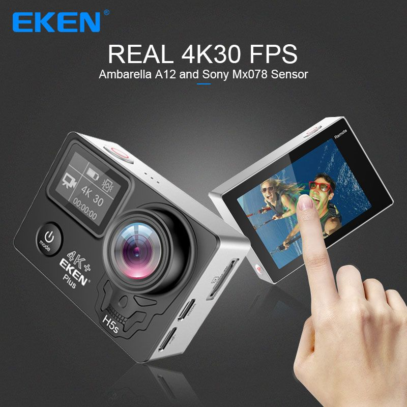 EKEN H5S Plus Action Camera HD 4K 30FPS with Ambarella A12 chip inside 30m waterproof 2.0' touch Screen EIS go sport camera pro
