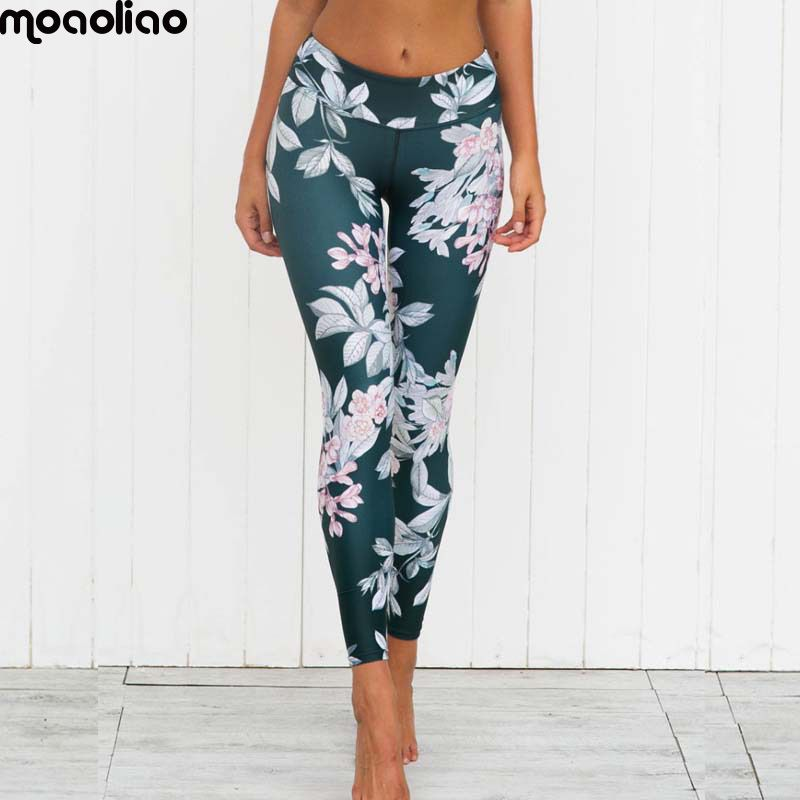 Flower Graphic Sport Yoga Legging Women's Fitness Training Exercise Joga Pants Workout Gym Jogging Jersey <font><b>Ladies</b></font> Yoga Clothing