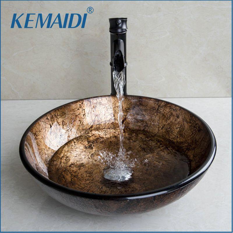KEMAIDI Neue Soild Messing Öl Bambus Schwarz Wasserhahn + Ross Marke 2015 Waschbecken Toilette Glas Waschbecken Bad Kombinieren Mischbatterie wasserhahn