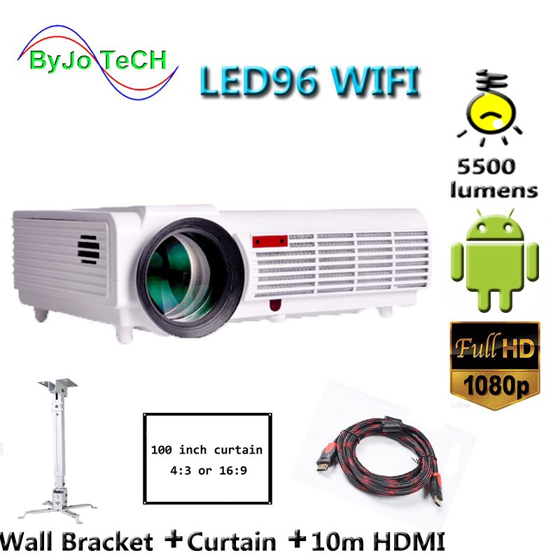 Poner Saund LED96 WIFI Projector 3D Wireless Multi-screen interactive Proyector android6.0 10m HDMI Wall bracket Curtain Vs bt96