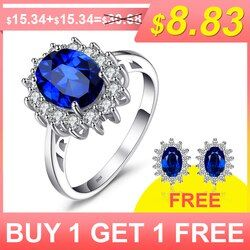 JewelryPalace 3.2ct Created Blue Sapphire Princess Diana Crown Halo Engagement 925 Sterling Silver Rings Jewelry For Women