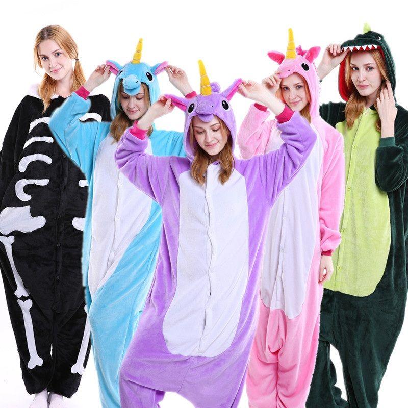 PSEEWE Licorne Point Panda Unisexe Flanelle Pyjamas Adultes anime cosplay Onesies Animaux de Nuit À Capuche Pour Femmes Hommes