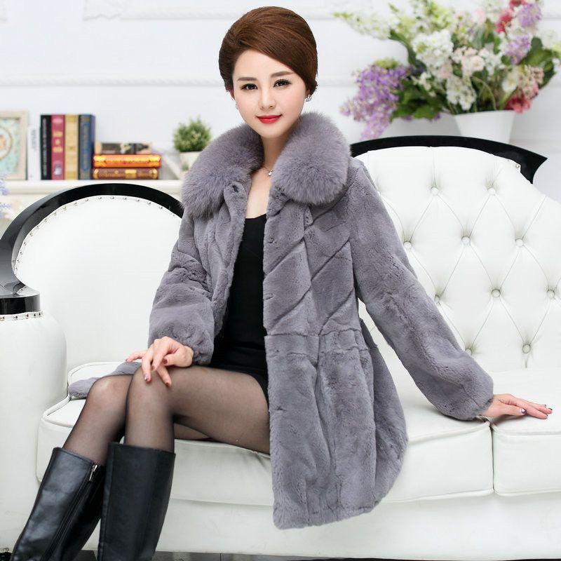 Noble Elegant Middle Age Ladies Full Pelt Natural Rex Rabbit Fur Coats Women Real Fox Fur Collar Thickening Winter Fur Jackets