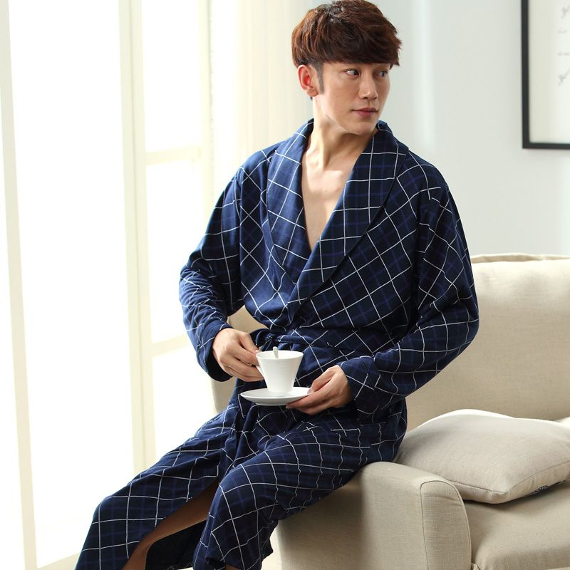 2017 New Spring Autumn Bathrobe Men Plaid Cotton Sleep Robe Long Sleeve Male Comfortable Casual Home Clothing Sleepwear Nighties